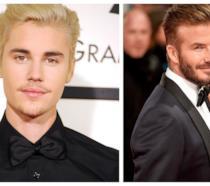 Primo piano di Justin Bieber e David Beckham