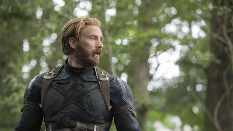 Chris Evans nei panni di Steve Rogers, in una sequenza di Avengers: Infinity War
