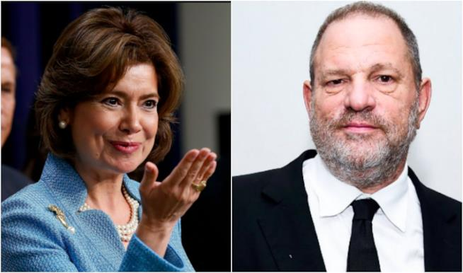 Collage tra Harvey Weinstein e Maria Contreras-Sweet