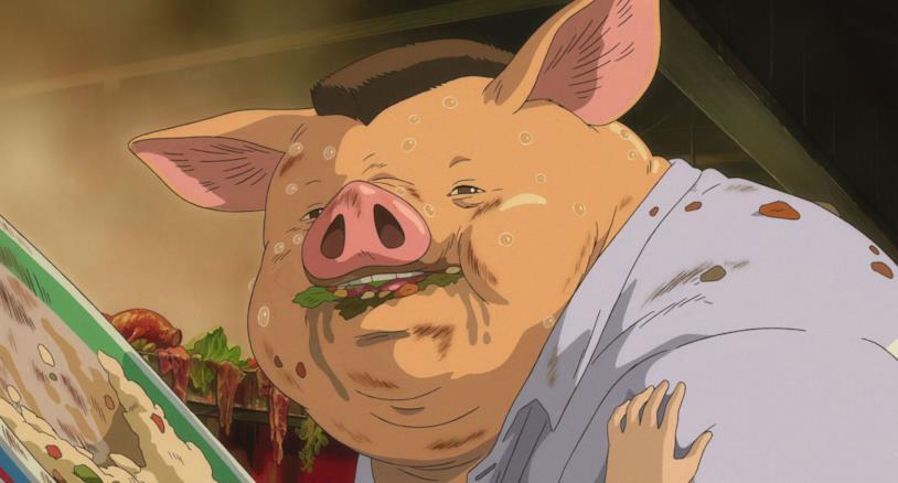 Il padre di Chihiro trasformato in maiale dopo aver mangiato il cibo della città incantata
