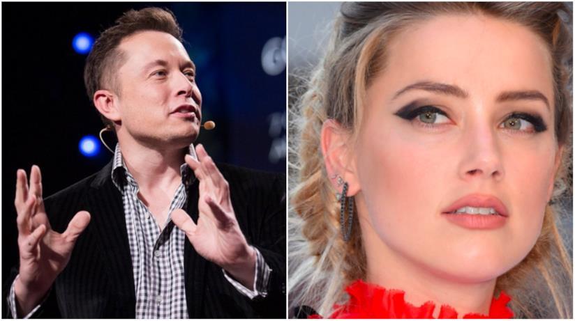 Un collage tra Amber Heard ed Elon Musk
