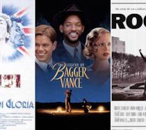Le locandine di Momenti di Gloria, La Leggenda di Bagger Vance e Rocky
