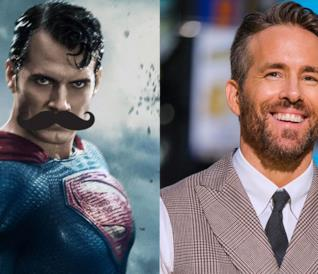 A sinistra Superman di Henry Cavill e a destra l'attore Ryan Reynolds