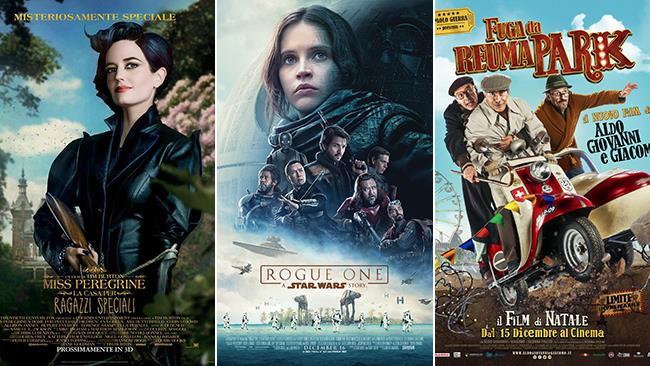 Le locandine dei film Miss Peregrine -  La Casa Per Ragazzi Speciali, Rogue One, Fuga da Reuma Park