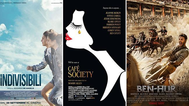 Le locandine dei film Indivisibili, Café Society e Ben-Hur