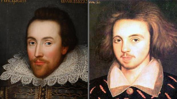 Un ritratto di Shakespeare accostato a Marlowe