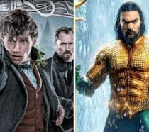 A sinistra Gellert Grindelwald, Newt Scamander e Albus Silente, a destra Aquaman