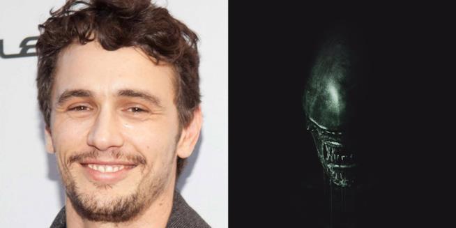 James Franco in un collage con Alien: Covenant
