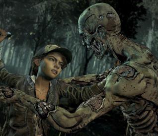 Clementine combatte uno zombie in The Walking Dead: The Final Season