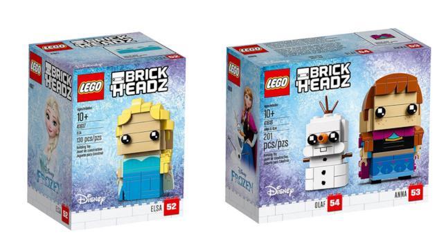 Dettaglio dei due box LEGO BrickHeadz di Elsa, Anna e Olaf