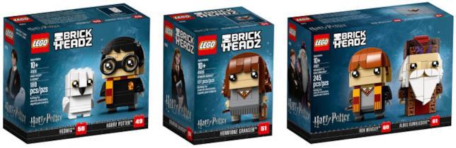 Dettagli del box dei set LEGO BrickHeadz dedicati a Harry Potter