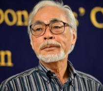 Primo piano di Hayao Miyazaki durante un evento mondano