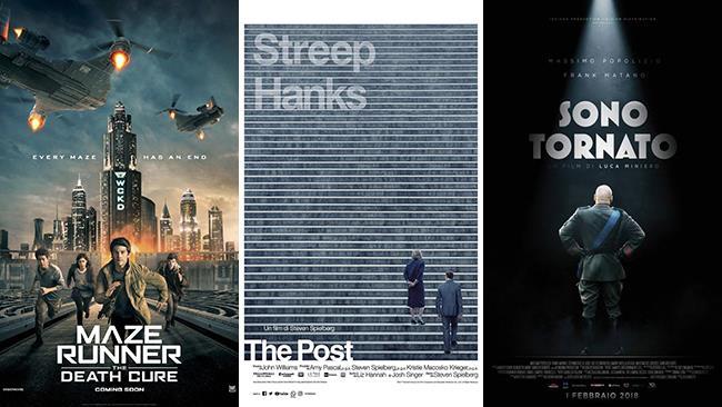 I poster dei film Maze Runner - La rivelazione, The Post e Sono tornato