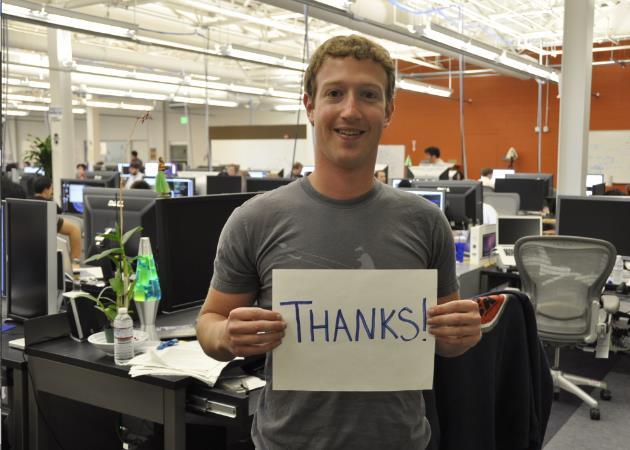 Il ringraziamento di Mark Zuckeberg dopo che Facebook ha raggiunto 1 miliardo di iscritti