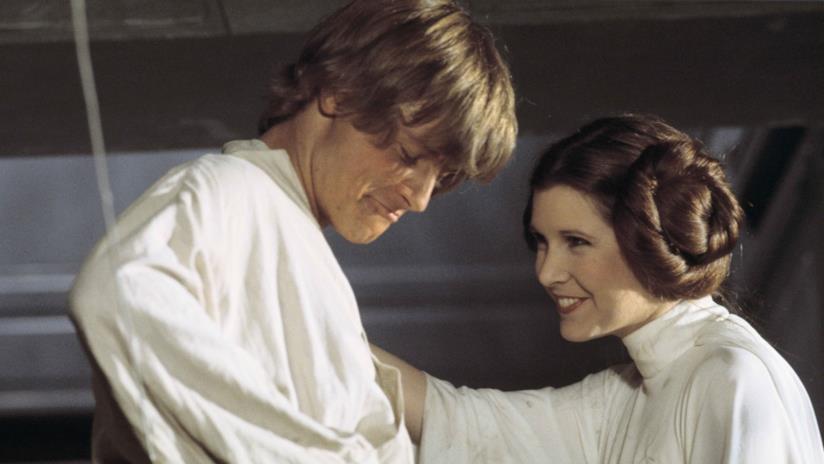 Mark Hamill e Carrie Fisher sul set di Star Wars