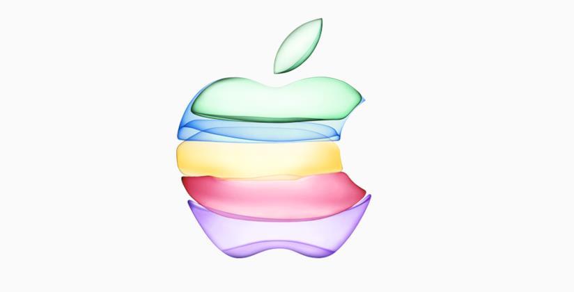 Il logo di Apple in più colori per l'evento del 10 settembre 2019