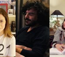 Primi piani di Laura Pausini, Francesco Renga e Cristina D'Avena