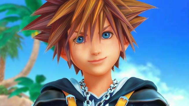 Un primo piano di Sora da Kingdom Hearts 3