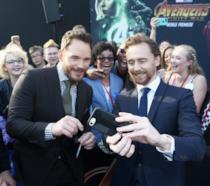 Chris Pratt e Tom Hiddleston alla prima di Avengers: Infinity War