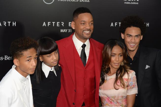 Primo piano di Will Smith, Jada Pinkett e i figli Willow, Jaden e Trey