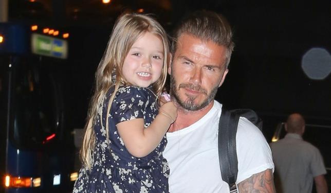 Primo piano di David Beckham e la figlia Harper
