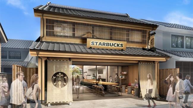 Il render del locale in stile Edo di Starbucks che aprirà in Giappone