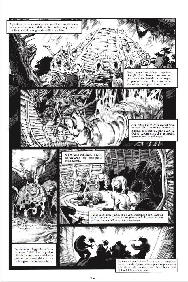 Tavola di Aliens 30° Anniversario con la teoria sul nido degli alieni