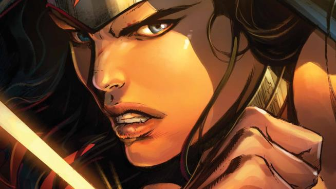 Un primo piano della versione comics di Wonder Woman