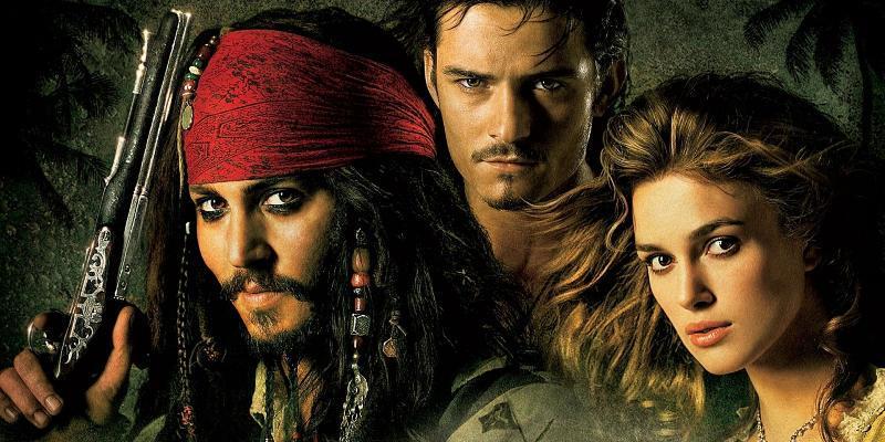 I tre personaggi principali dei primi film di Pirati dei Caraibi
