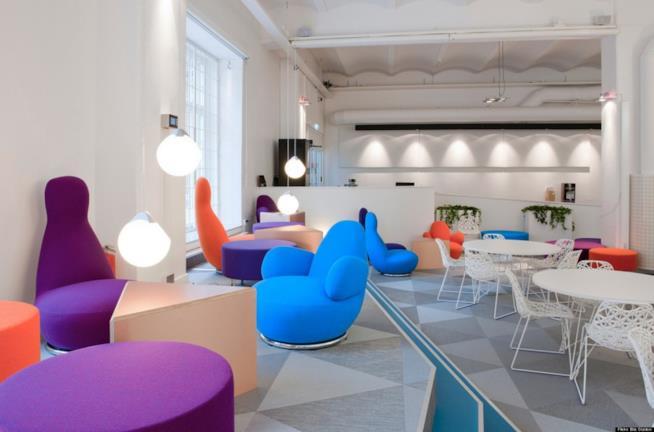 Primo piano della sala relax di Skype a Stoccolma