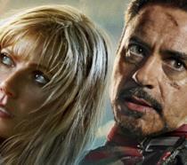 Pepper Potts e Tony Stark in un poster promozionale di Iron Man 3