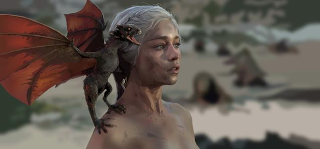 Daenerys Targaryen posa con un cucciolo di drago