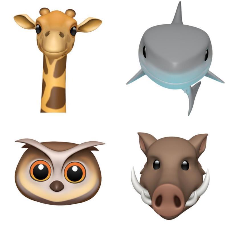 Le quattro nuove Animoji di iOS 12.2: giraffa, squalo, gufo e cinghiale