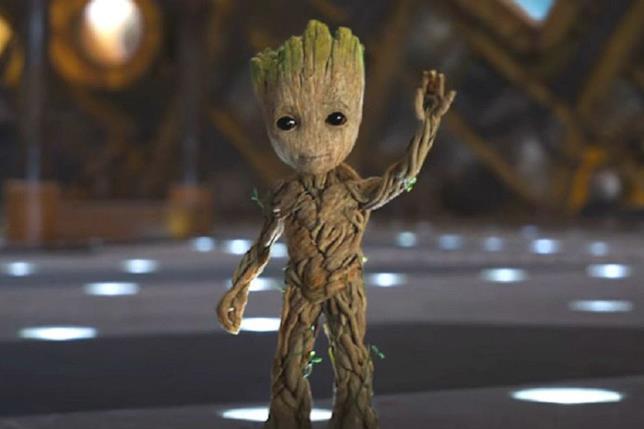Baby Groot in una sequenza dei Guardiani della Galassia Vol. 2