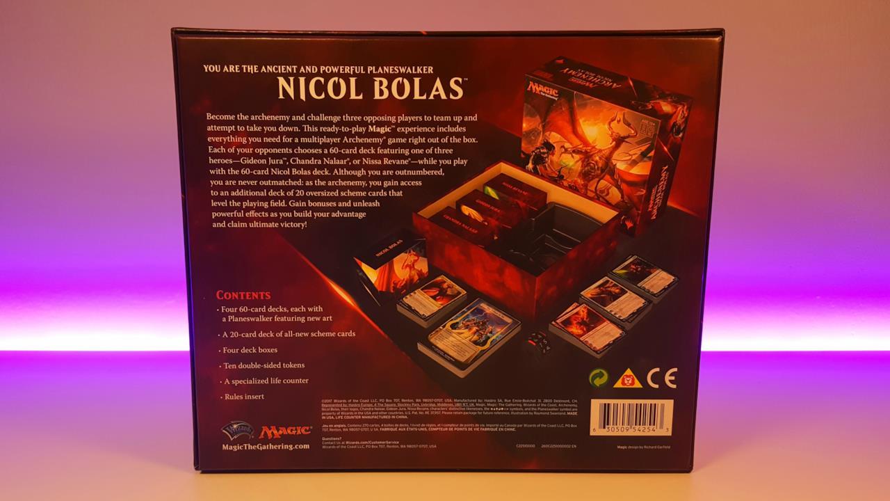 Il retro della scatola di Archenemy Nicol Bolas