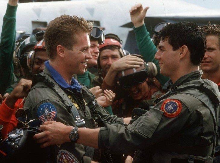 Val Kilmer e Tom Cruise sul set del primo Top Gun