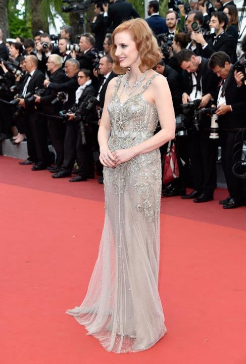 Jessica Chastain alla prima di Money Monster a Cannes