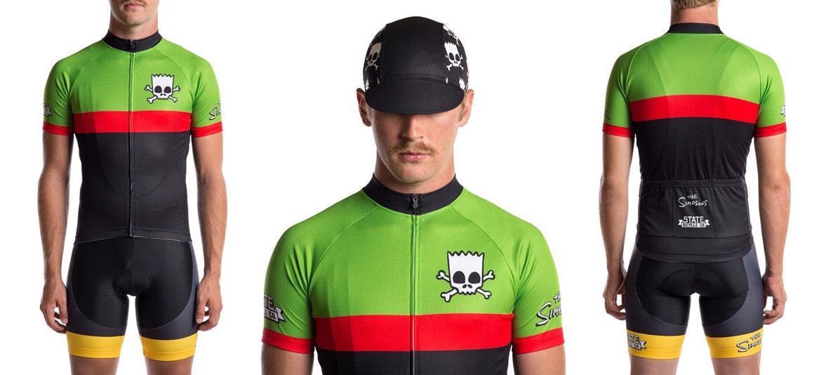 Tuta da ciclismo dei Simpson  verde e nera con il teschio di Bart e cappellino a tema