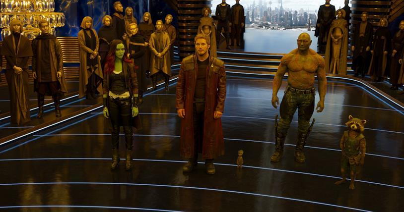 Vin Diesel, Bradley Cooper, Chris Pratt, Zoe Saldana e Dave Bautista