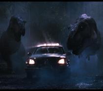 L'attacco dei Tirannossauri in una scena de Il mondo perduto
