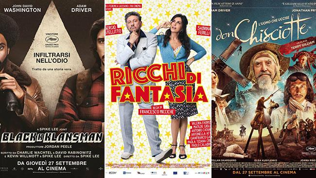 I poster dei film BlacKkKlansman, Ricchi di fantasia, L'uomo che uccise Don Chisciotte