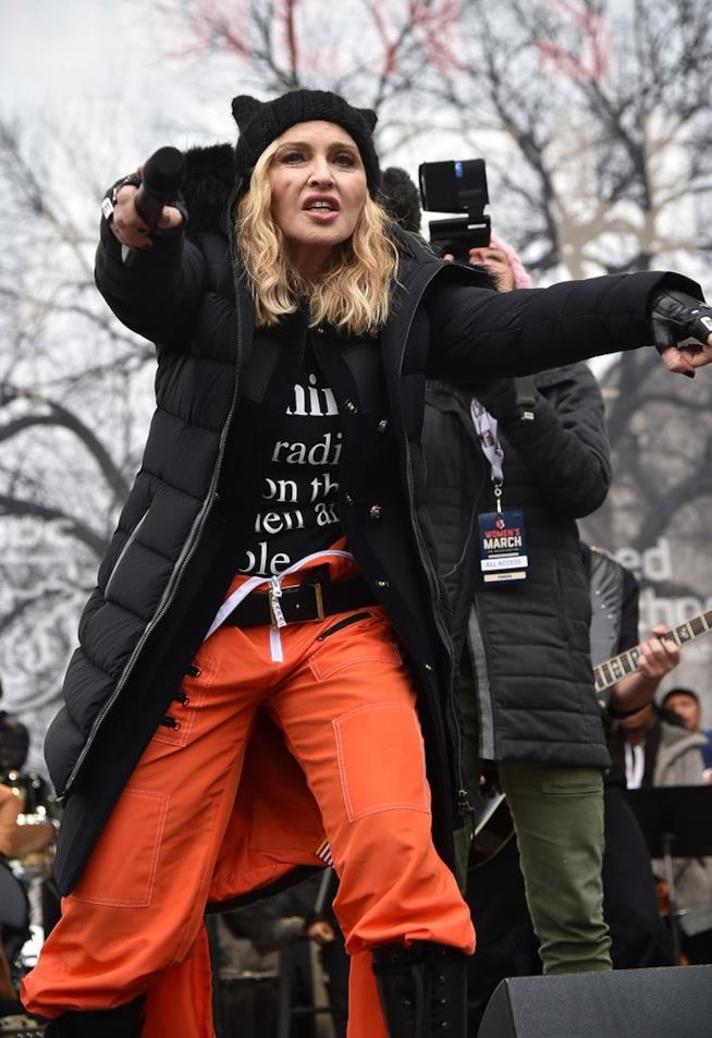 Madonna durante una recente manifestazione contro Donald Trump