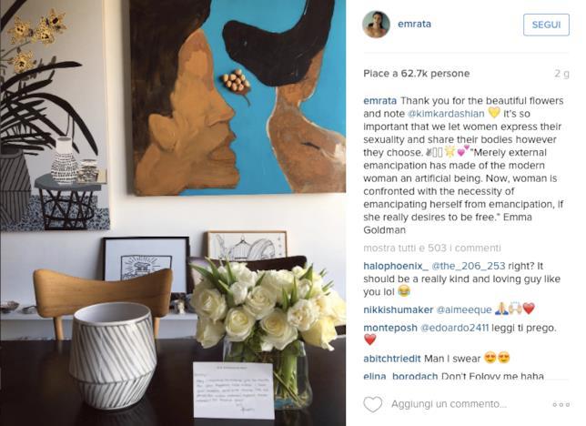 I fiori regalati da Kim Kardashian a Emily Ratajkowski
