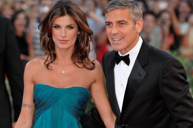Primo piano di George Clooney ed Elisabetta Canalis