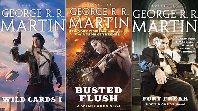 Le copertine di alcuni libri che appartengono all'universo di Wild Cards