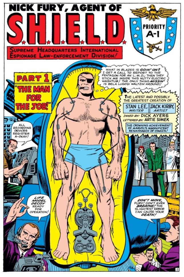 La copertina della storia con protagonista Nick Fury e i LMD in Strange Tales 135