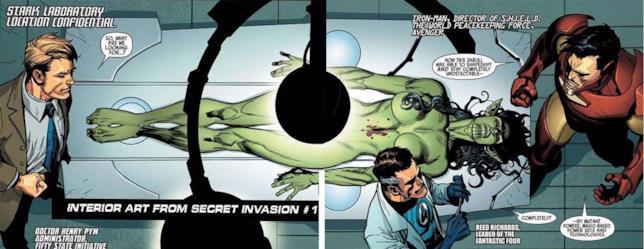 Il corpo dello Skrull che aveva sostituito Elektra