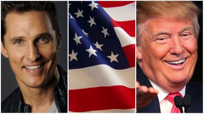 Un collage tra Matthew McConaughey, Donald Trump e la bandiera americana