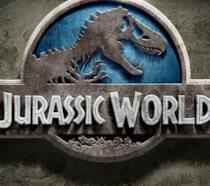 Il logo di Jurassic World grigio, bianco e azzurro