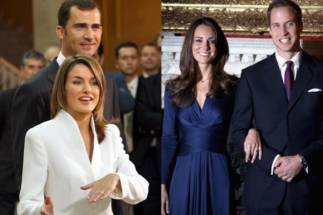 Filippo VI e Letizia Ortiz reali di Spagna, Kate e William reali d'Inghilterra.